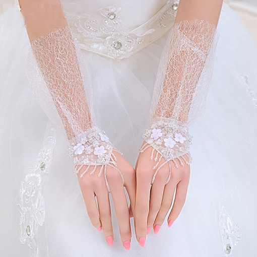 Transparent Finger-Less Bridal Wedding Gloves