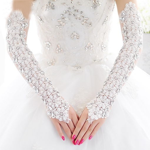 Hollow-Out Flowers Bridal Long Gloves