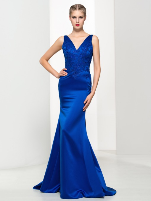 V-Neck Appliques Mermaid Evening Dress