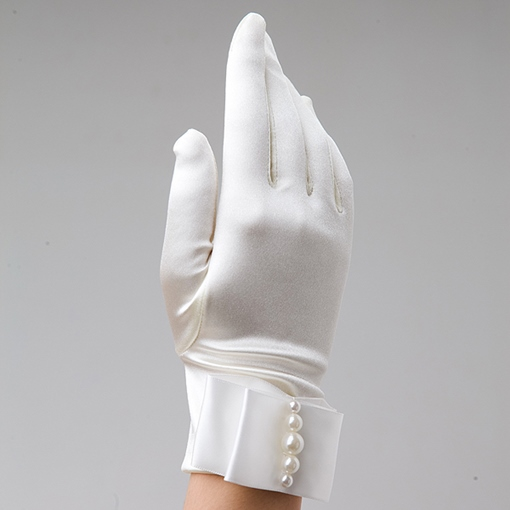 Ivory Pearls Satin Bridal Gloves
