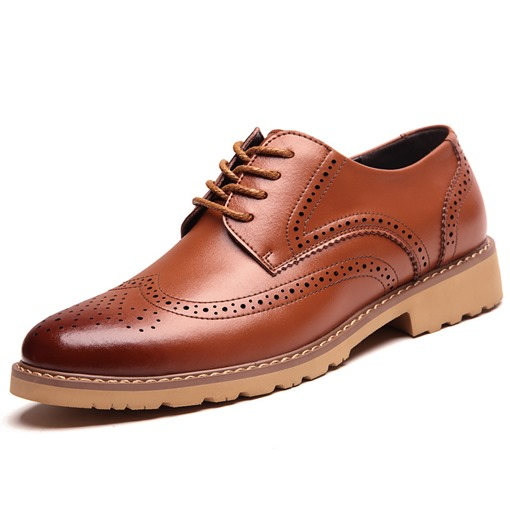 Square Heel Hollow Cross Strap Men's Oxfords