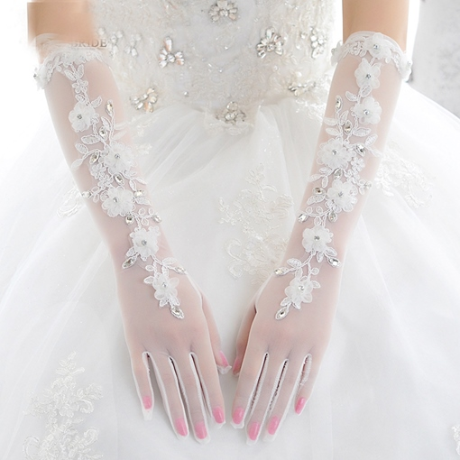 White Transparent Tulle Appliques Elbow Length Wedding Gloves