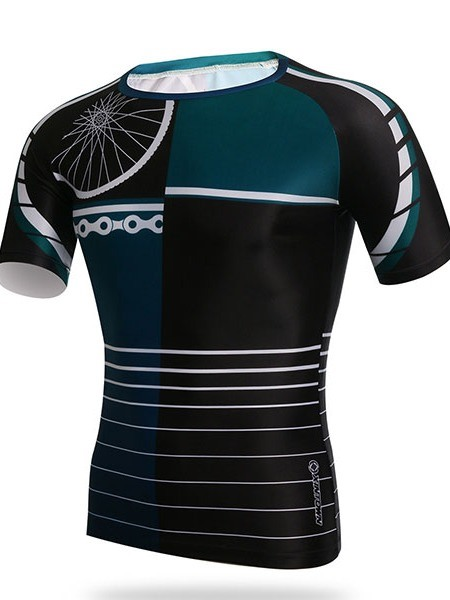 Men's Round Collar Outdoor Tight Cycle Jersey