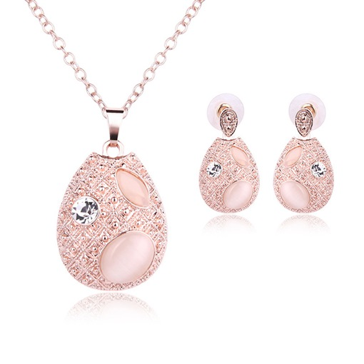 Rose Quartz Opal Two-Piece Jewelry Set