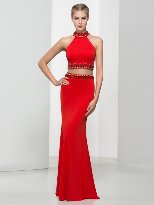 Two Pieces High Neck Beading Sequins Prom Dress