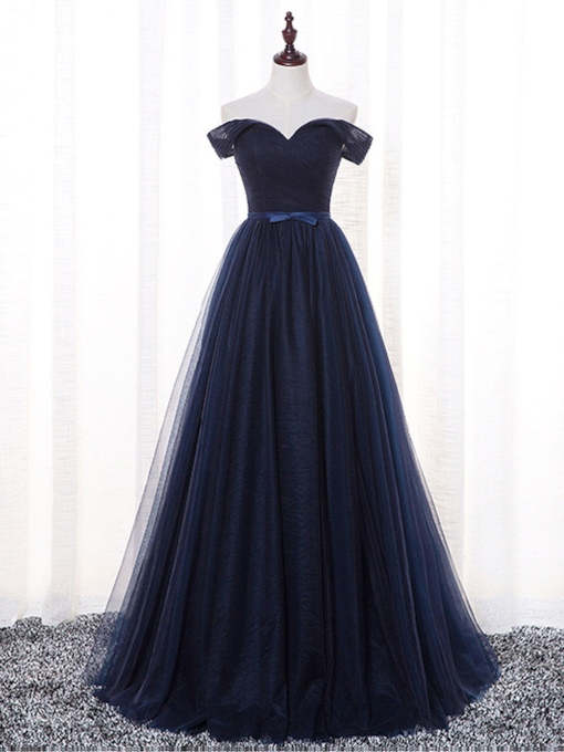 A-Line Bowknot Off-the-Shoulder Sashes Prom Dress