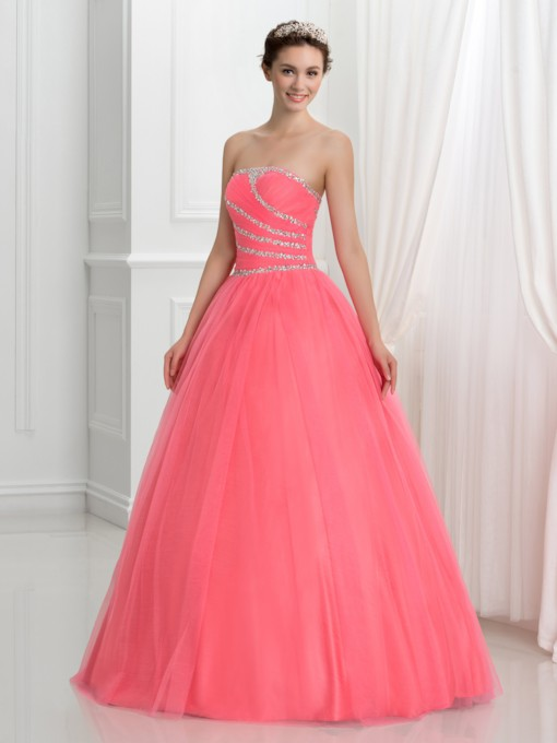Strapless Lace-Up Ball Gown Watermelon Quinceanera Dress