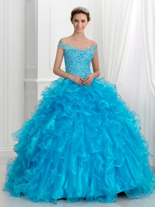 off-the- épaule robe volants en cascade de quinceanera