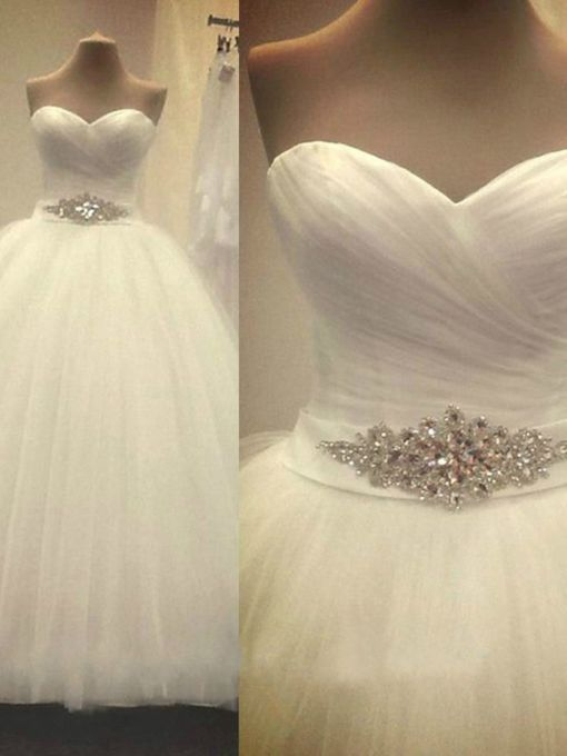Sweetheart Rhinestone Pleated Ball Gown Wedding Dress