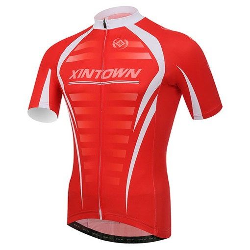 Red Rib Print Short Sleeve Cycling Jersey