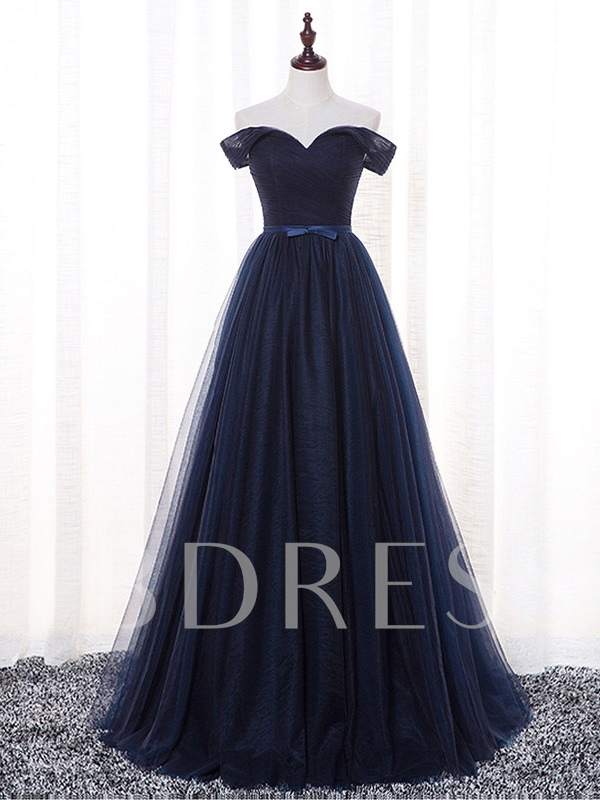 Image of A-Line Bowknot Off-the-Shoulder Sashes Prom Dress