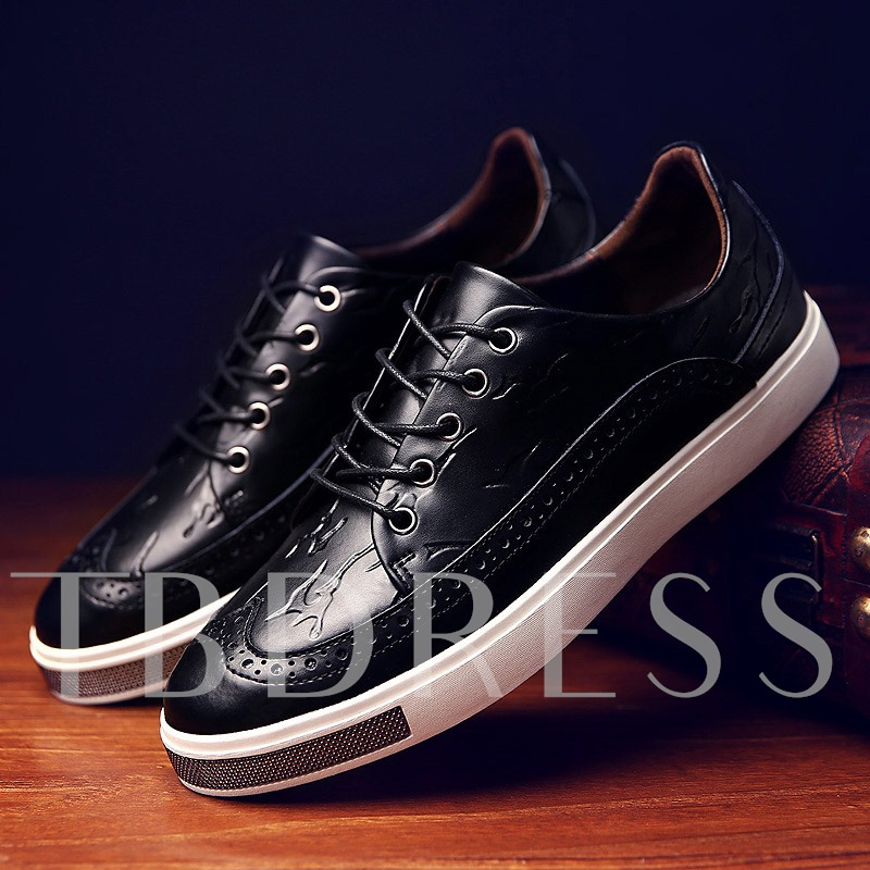 Round Toe Hollow Lace-Up Front Flat Heel Men's Loafers