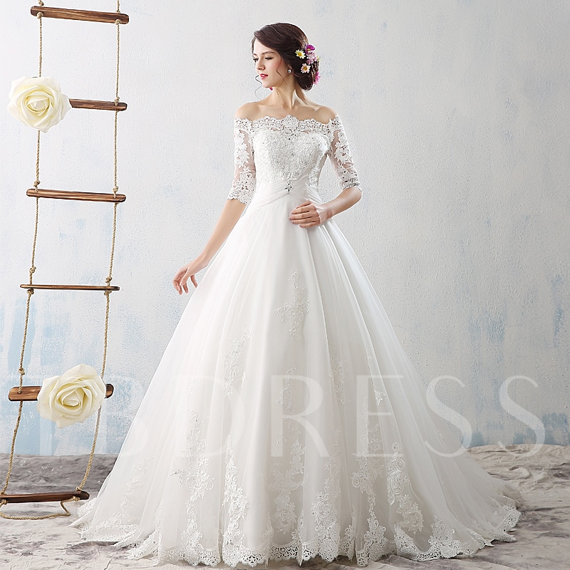 Elegant Lace Tulle Wedding Dresses Simple Design 3 4 Lace: Court Train Off-The-Shoulder Half Sleeves Lace Tulle