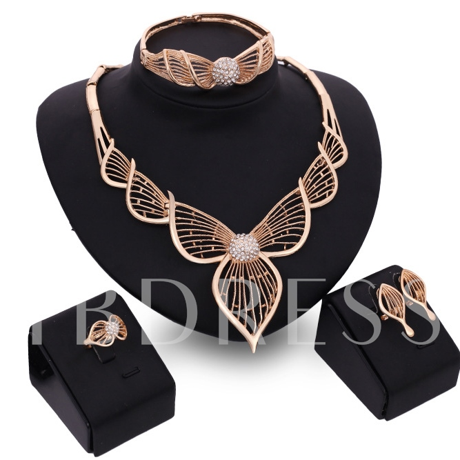 Gold Plated Hollow Out Leaves Jewelry Set
