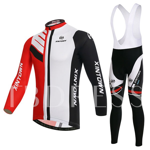Color Link Warm Long Sleeve Stretchable Men's Cycling Suit