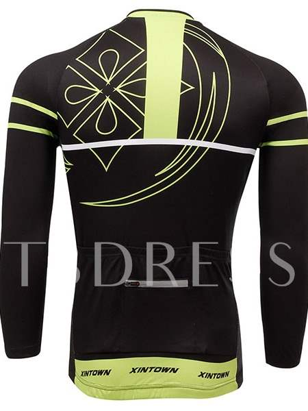 Geometric Breathable Quick-Dry Long Sleeve Men's Cycling Top (Plus Size Available)