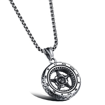 Tire Shaped Hollow Out Titanium Steel African Men's Necklace