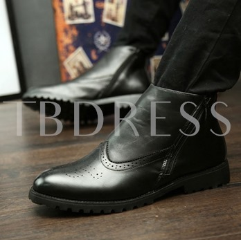 Side Zipper Pointed Toe Square Toe Ankle Men's Boots