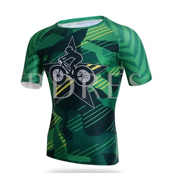 Men's Green Color Round Collar Tight Outdoor Cycle Jersey