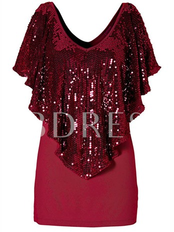 Double-Layered Sequins Women's Blouse