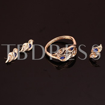 Four-Piece Leaves Gem Inlaid Alloy Jewelry Set