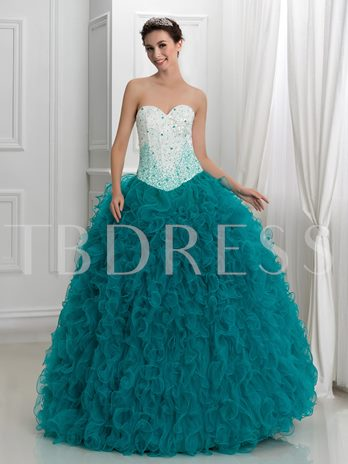 Sweetheart Ball Gown Cascading Ruffles Lace-Up Quinceanera Dress
