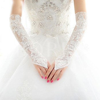 Appliques Lace Sequins Long Bridal Gloves