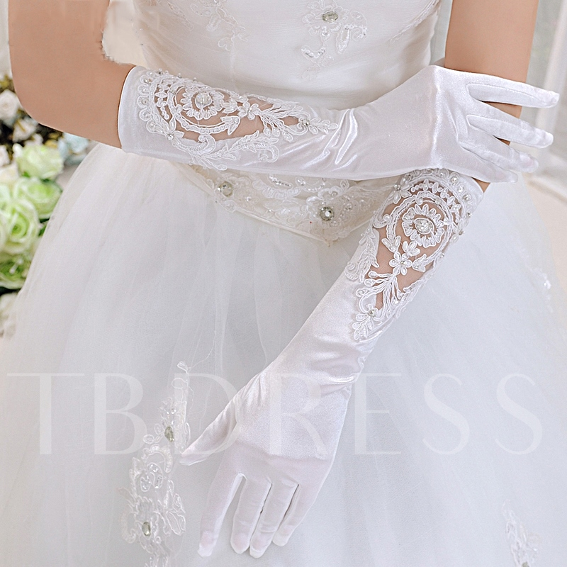 Hollow-Out Appliques Satin Bridal Gloves
