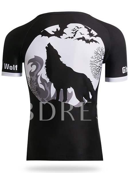 Men's Round Collar Ghost Wolf Print Tight Short Sleeve T-shirt