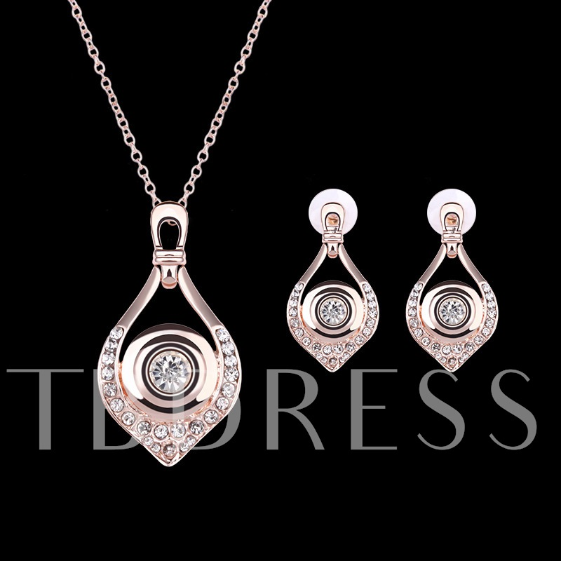 Rose Gold Drops Design Two-Piece Jewelry Set