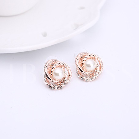Floral Shape Pearl Inlaid 2 Piece Jewelry Sets