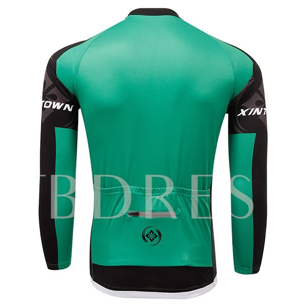 Green Color Long Sleeve Fleece Lining Men's Cycling Jersey (Plus Size Available)