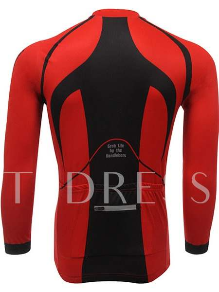 Red and Black Color Moisture Absorption Men's Cycling Jersey (Plus Size Available)