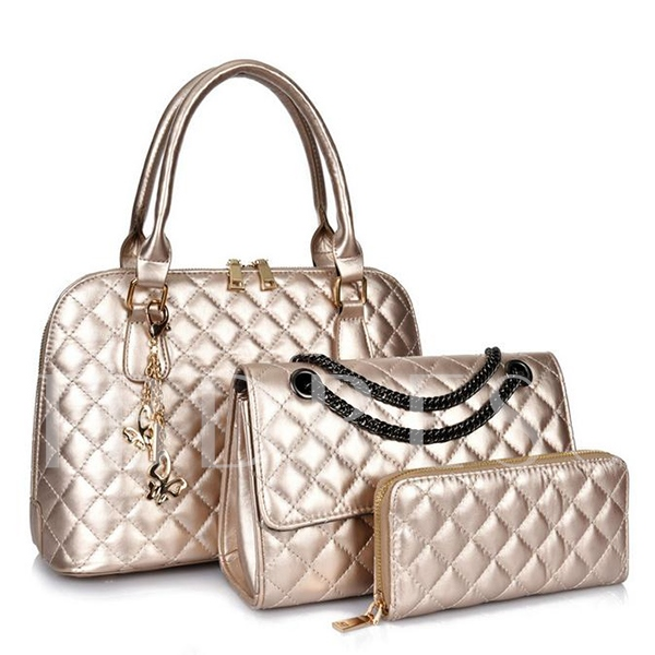 Gorgeous Argyle Embossing Zipper 3 Tote Bag Sets