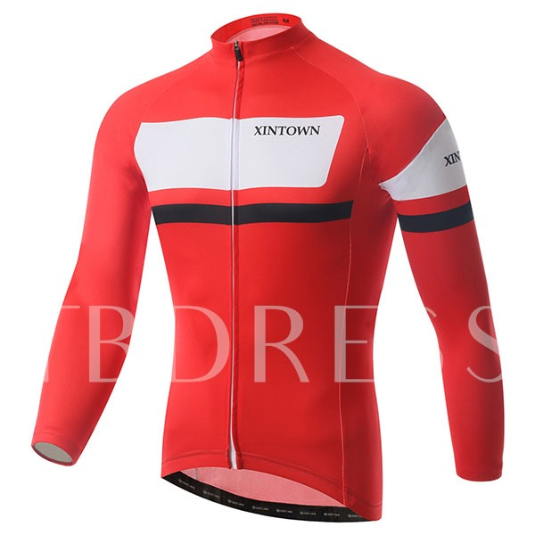 Red Color Perspirational Long Sleeve Men's Cycling Jersey (Plus Size Available)