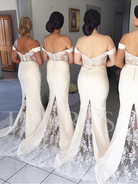 Off the Shoulder Button Lace Mermaid Bridesmaid Dress