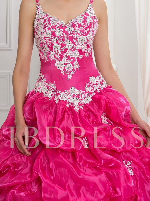 Spaghetti Straps Lace-Up Ball Gown Quinceanera Dress