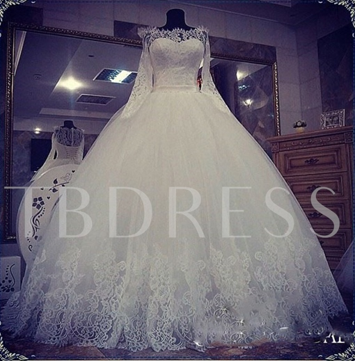 Jewel Neck Lace Appliques Court Train Ball Gown Wedding