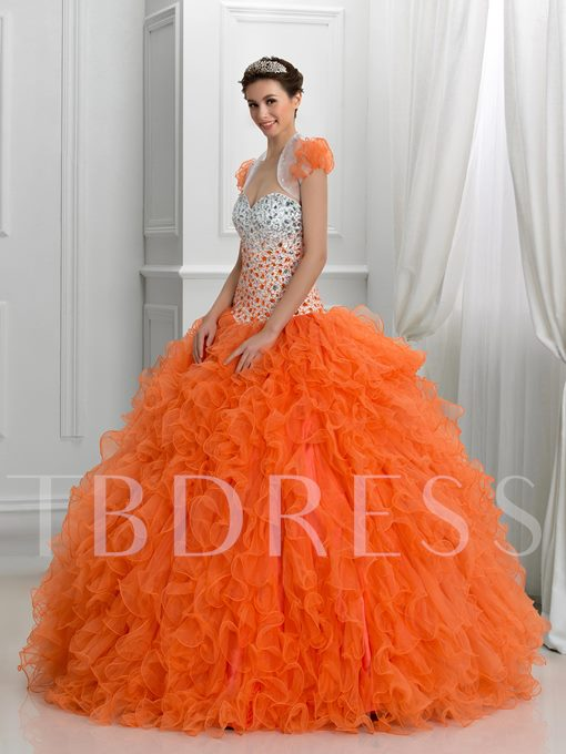 Sweetheart Beaded Long Quinceanera Dress