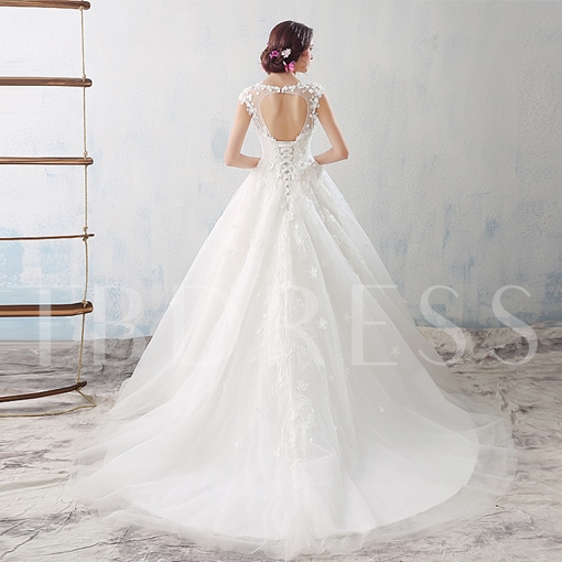 Keyhole Back Floral Appliques Floor-Length Ball Gown Wedding Dress