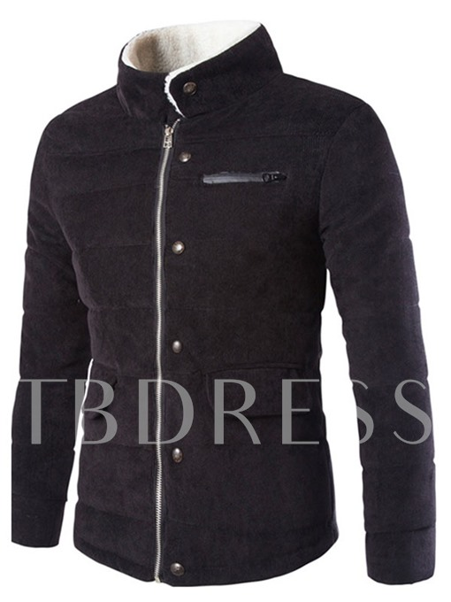 Men's Corduroy Overcoat with Sherpa-Lined Collar