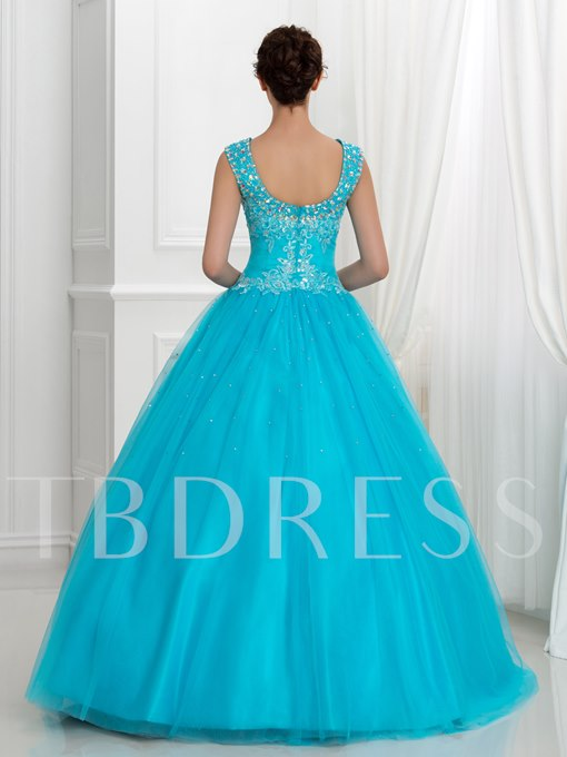 V-Neck Appliques Sequins Long Ball Gown