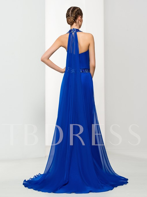 A-Line Sleeveless Beaded Evening Dress With Watteau Train