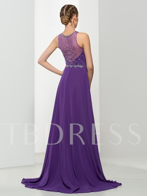 Jewel Neck A-Line Beading Sweep Train Evening Dress