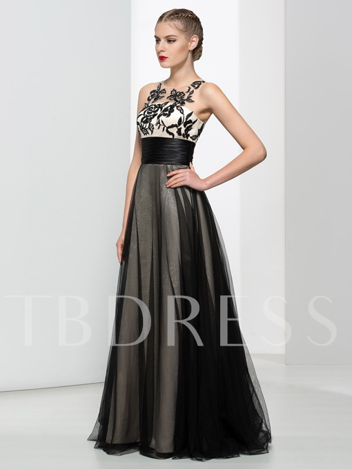 Jewel Neck Sashes A-Line Appliques Floor-Length Prom Dress