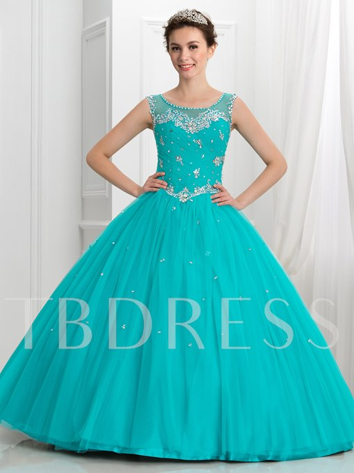 Sheer Neck Pleats Beaded Ball Gown