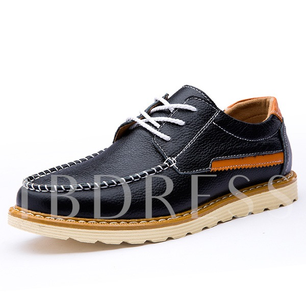 Round Toe Square Heel Patchwork Low-Cut Upper Men's Oxfords