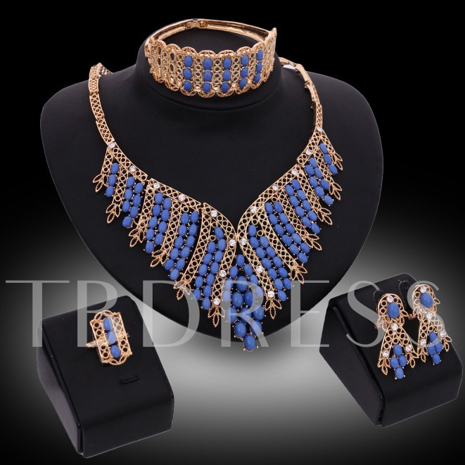 Blue Beads Metal Four-Piece Jewelry Set