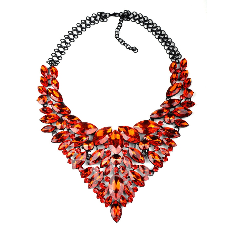 Exaggerated Rhinestone Feather Necklace