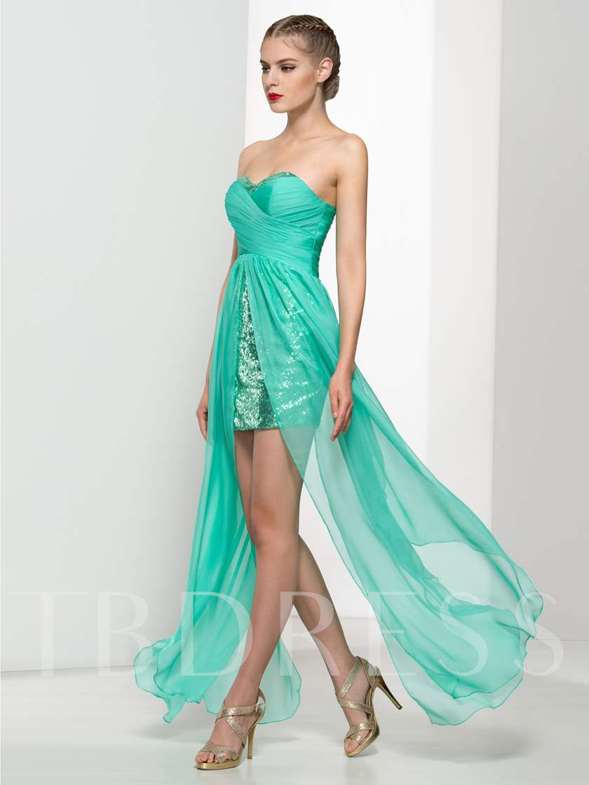 Sweetheart Sequins Pleats Front-Split Prom Dress